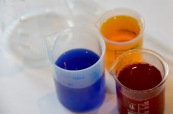 Colour mixing with food colouring and water