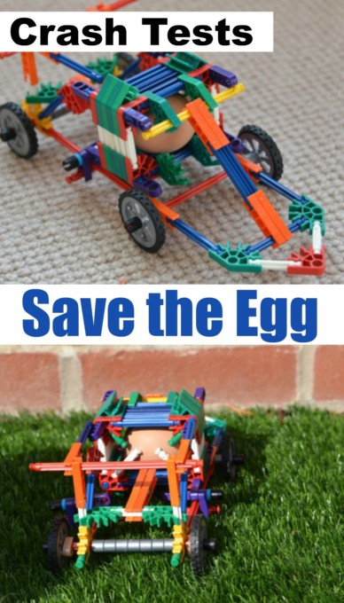Crash Test Eggs - build a car to save an egg in a collision. Fun egg STEM Challenge for kids.