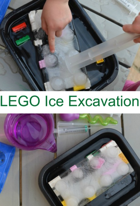 Super simple science for kids. Set up a LEGO Ice Excavation for kids to rescue the LEGO from the ice #easyscienceexperiments #sensoryscience