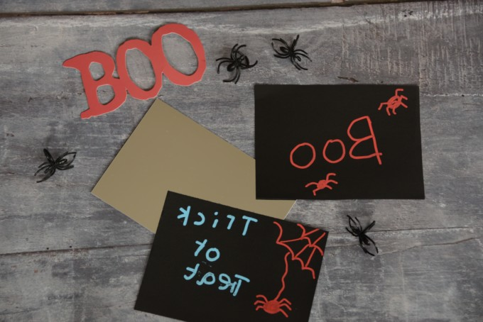 Halloween activity for kids - write on a mirror backwards