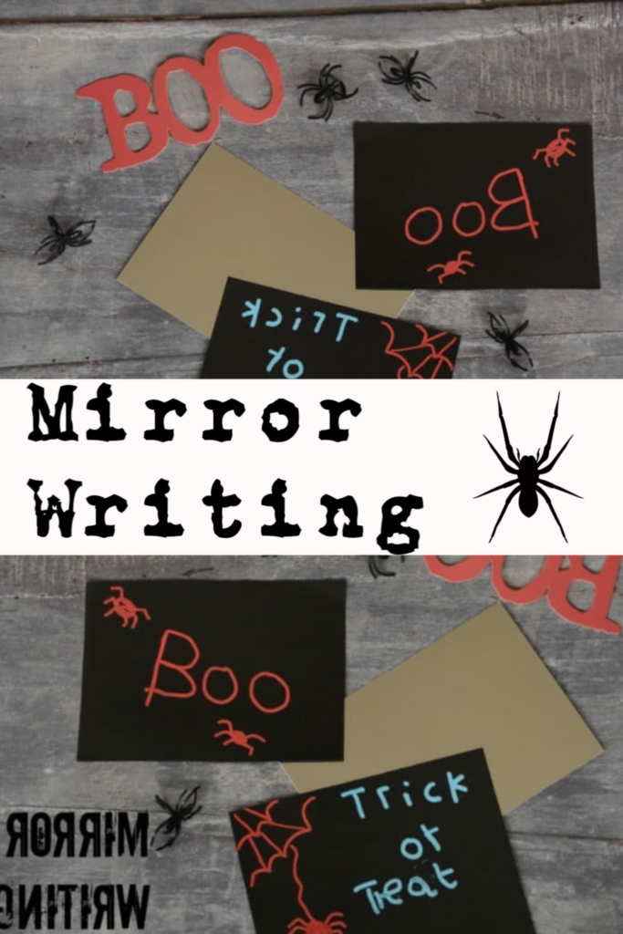 Fun Mirror Writing activity for Halloween. #Halloweenscience #Halloween #Halloweenactivities #Halloweenforkids