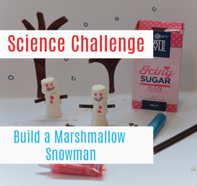 Marshmallow Snowman  - build a marshmallow snowman with marshmallows and test to see which sticky substance sticks it together the best #sciencechallenge #ChristmasScience