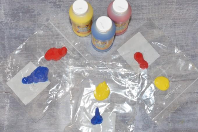 mixing colours materials