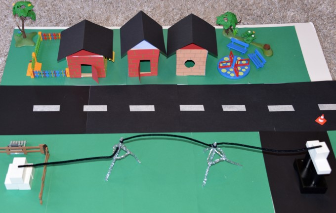 Model light up street used to demonstrate circuits for kids