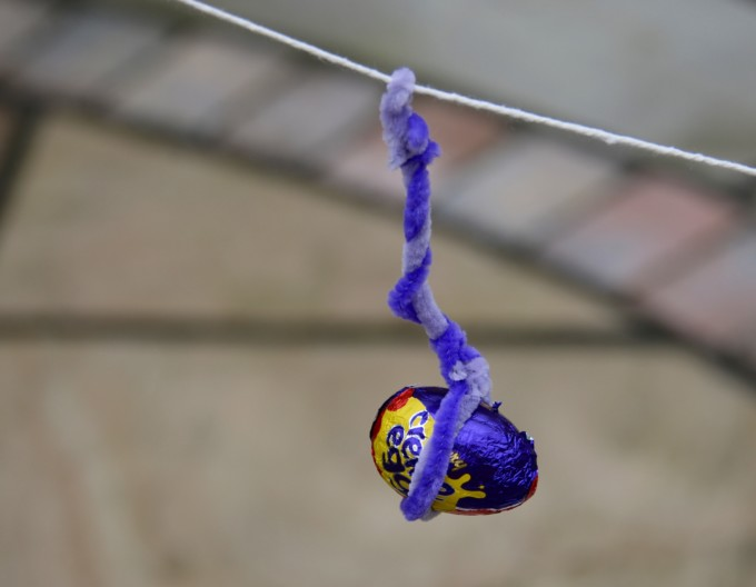 Easter Zip Wire - creme egg going down a wire