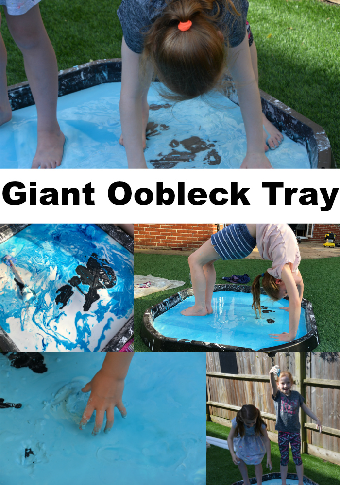 Giant oobleck tray - outdoor science for kids - run and walk on oobleck!