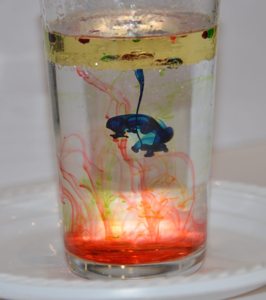 oil, water and food colouring