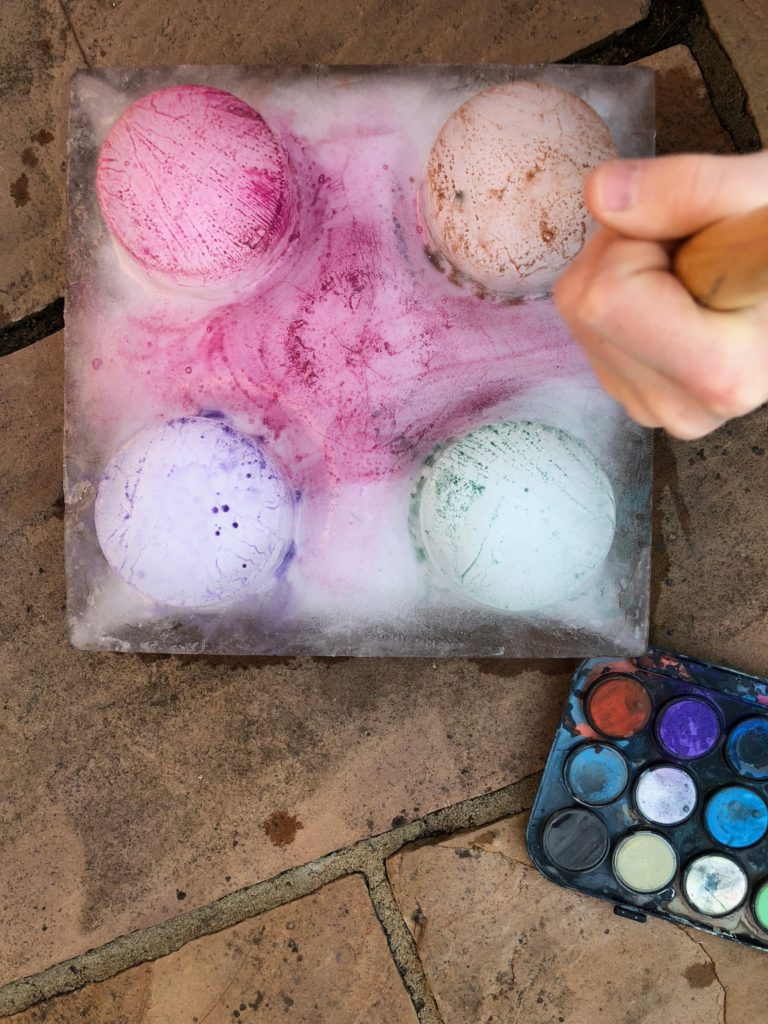 Ice Painting - fun ice experiment for kids
