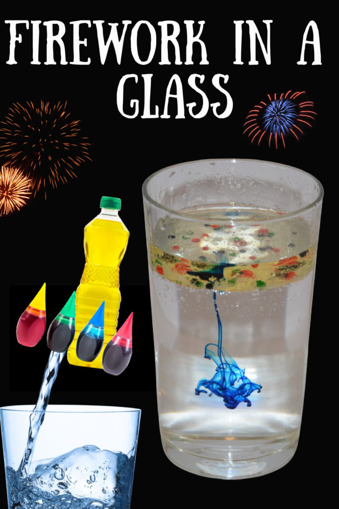 Firework in a glass or colourful jar experiments for kids. Watch as the food colouring bursts through the oil layer into the water #scienceforkids #fireworkcraft