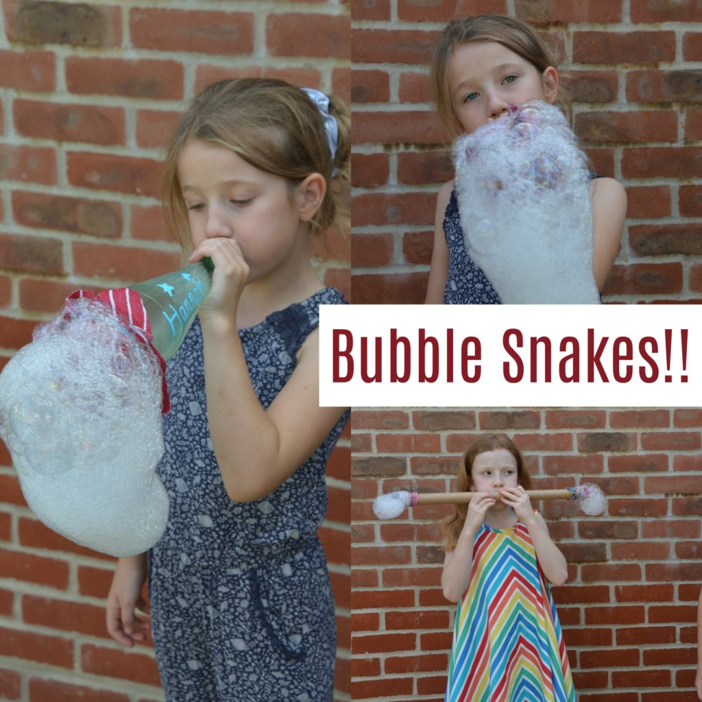How to make a bubble snake. Use a bottle, elastic band, tea towel and bubble mix to make a bubble snake #bubblesnakes #scienceforkids #bubblescience