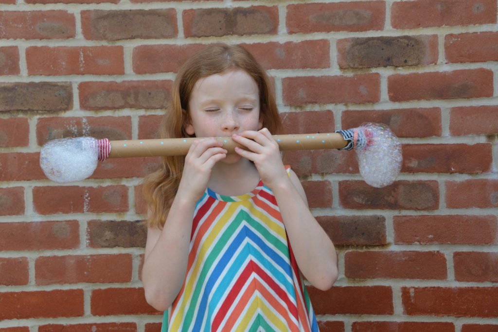 Bubble Snake with a cardboard tube and bubbles