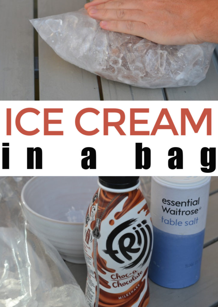 ice cream in a bag experiment - make homemade ice cream using milk, ice and salt. Fun kitchen science experiment for kids.