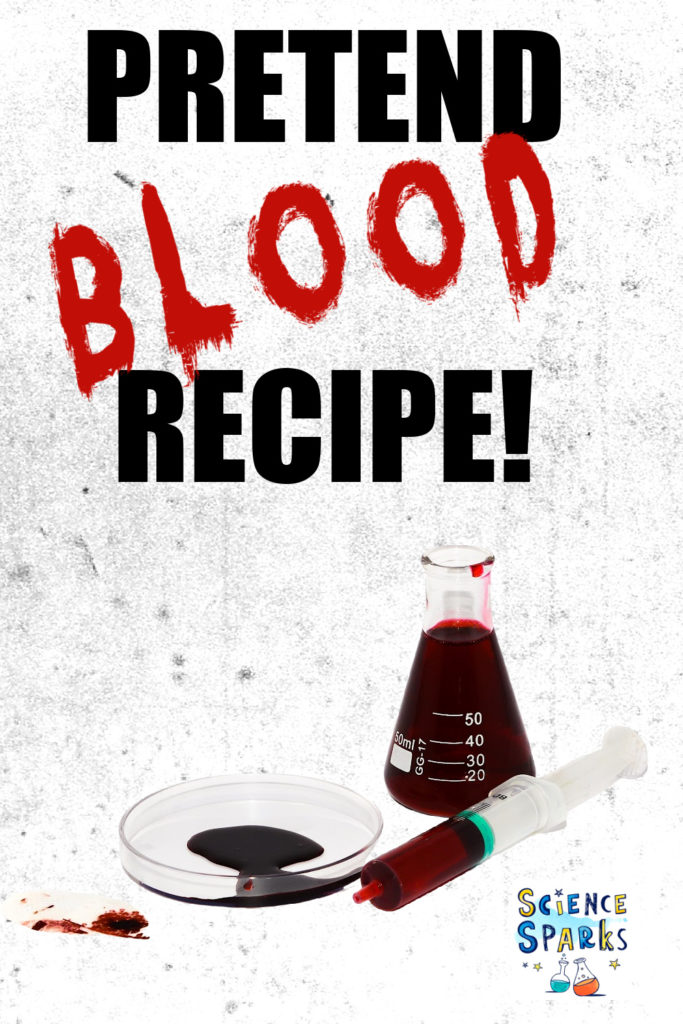 Image of pretend blood made in a conical flask for a Halloween science activity