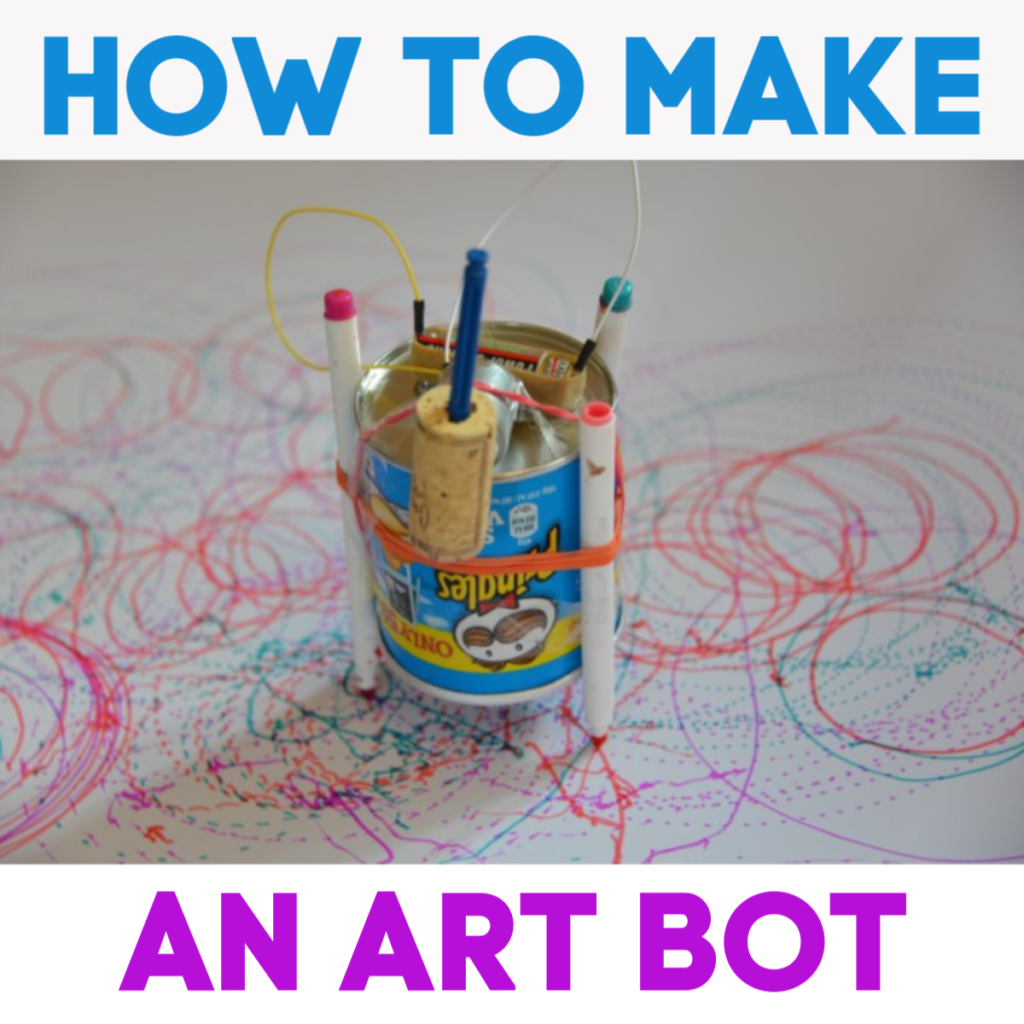 How to make an Art ( Scribble ) Bot with a pringles tube, moving arm, pens and motor #scienceforkids #STEMChallenge