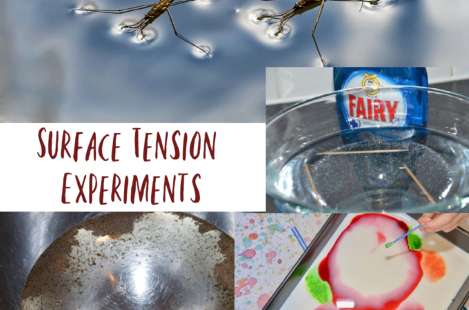 Collection of easy experiments to demonstrate the surface tension of water #waterscience #scienceofwater #scienceforkids