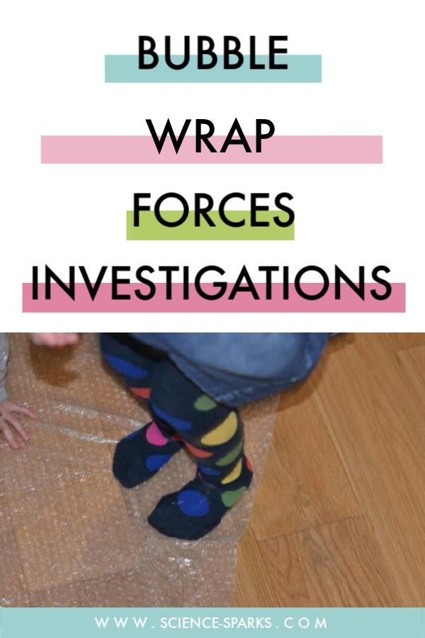 Fun forces experiments using bubble wrap #forces #scienceforkids #forcesexperiments
