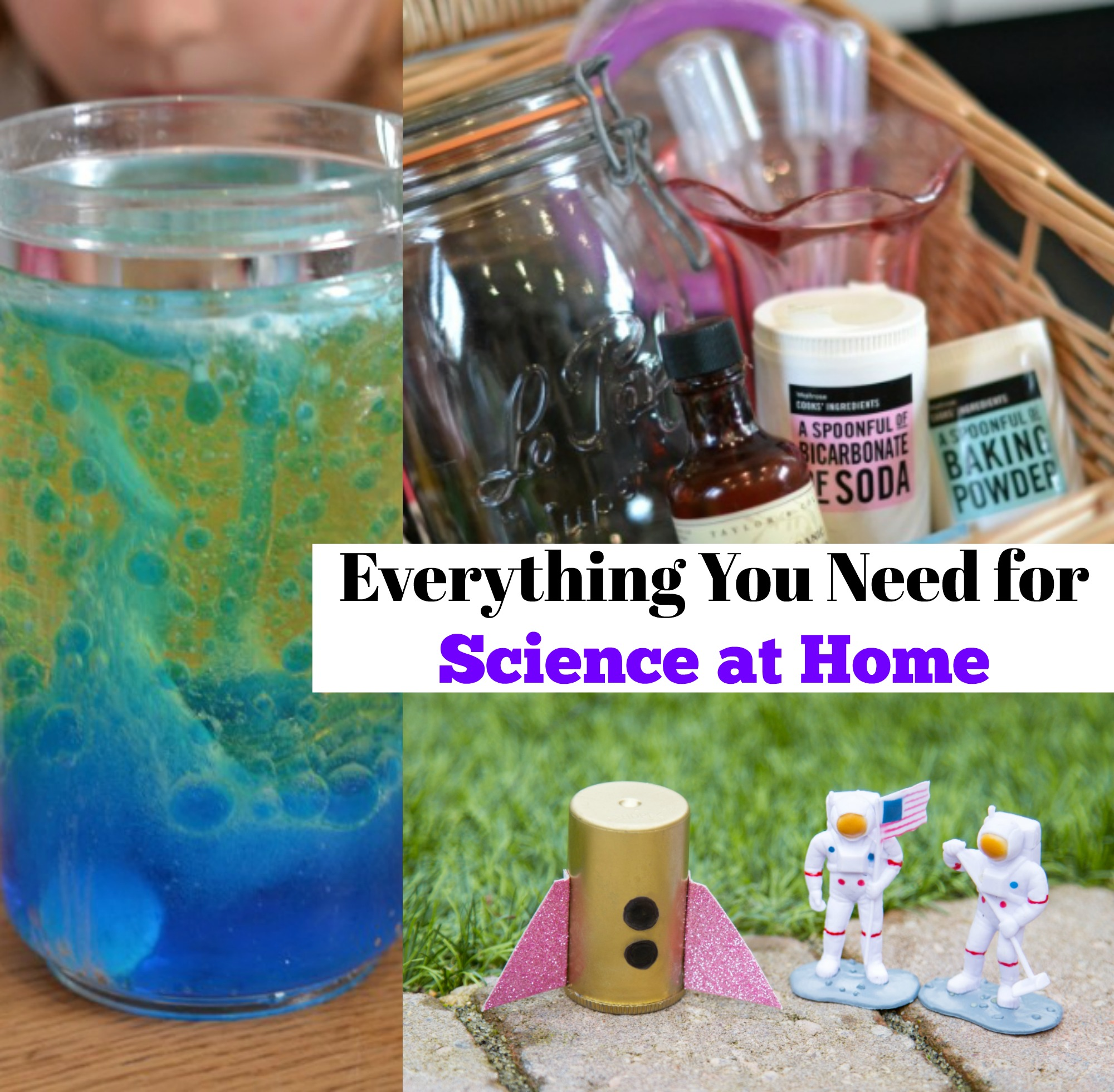 Everything you need for science at home - list of ingredients and resources for awesome science at home #scienceforkids #scienceathome