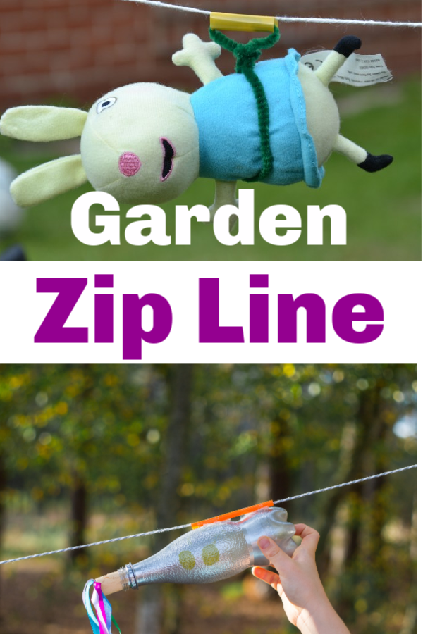 Make a fun garden zip line with teddies, small figures or even with a bottle rocket! Make harnesses and test different materials for the zip line to investigate the effect of friction on the speed of descent #friction #frictionexperiments #scienceforkids #coolscience #toddleractivities