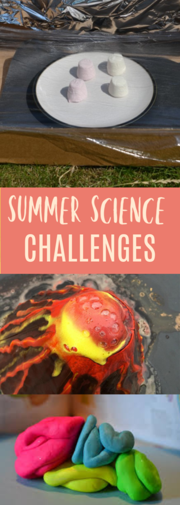 Easy summer science challenges for kids. Make a solar oven, a model brain, find rainbows in bubbles, make a lava lamp, an outdoor kitchen and lots more fun summer science challenges #scienceforkids #summerscience #sciencechallenges #STEMChallenges