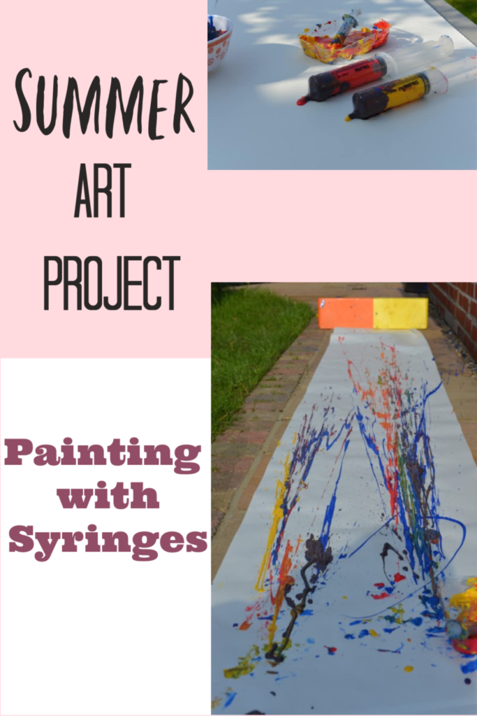 Fun summer art project and science investigation. Paint with syringes #summerscience #outdoorscience #artforkids