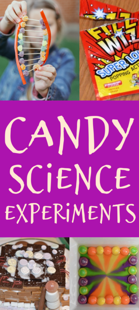 Candy Science Experiments for kids. Make a DNA Model, find out why popping candy pops, build a house from sweets and lots more cool candy science #scienceforkids #candyscience #coolscienceexperiments