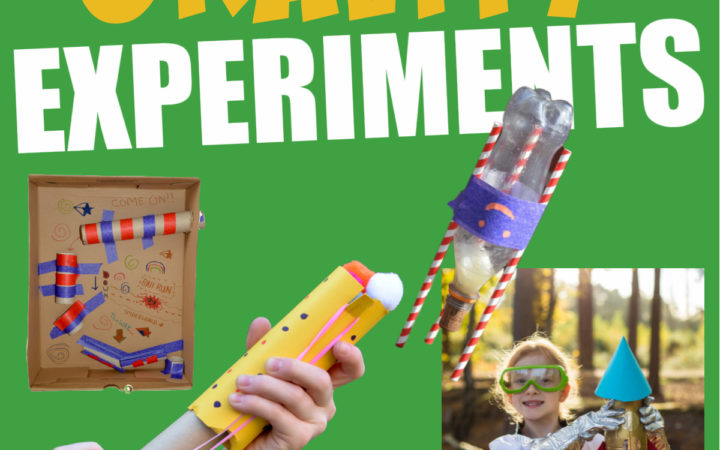 image of a bottle rocket, sling shot and other gravity experiments for kids