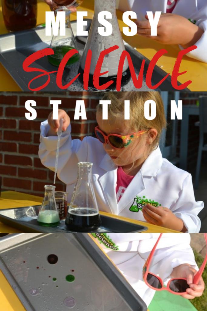 Create a messy science station for preschoolers. Fun kindergarten science experiments. #preschoolscience #scienceforkids #earlyyearsscience