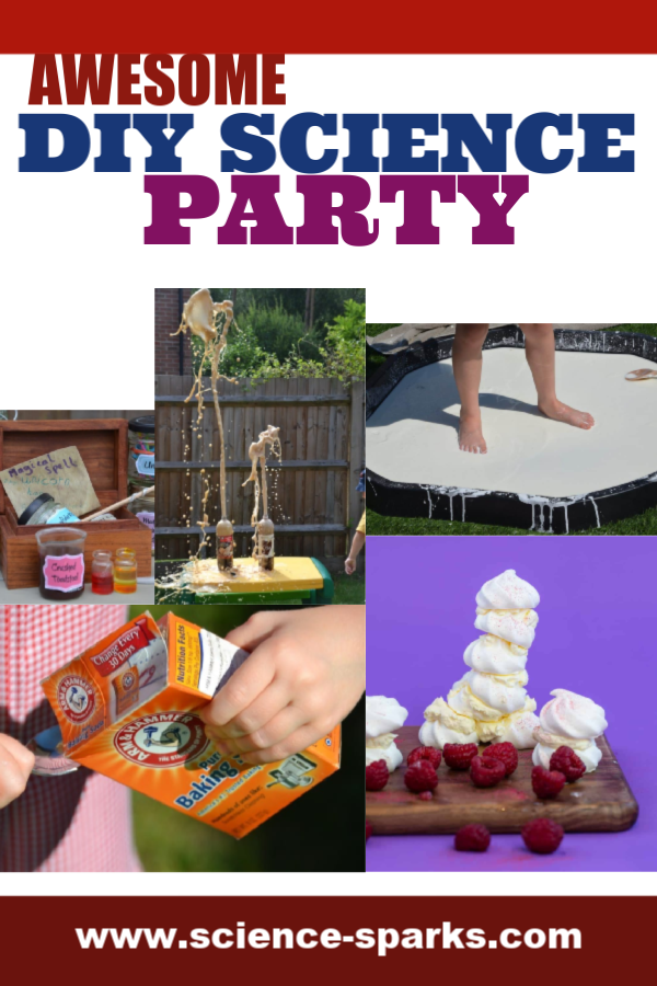 Awesome DIY Science Party Experiments for Kids - make a coke and mento fountain, a tray of oobleck, meringue towers, fizzy potions and more science party experiment ideas. #scienceparty #scienceforkids #easyscienceexperiments #sciencepartyexperiments