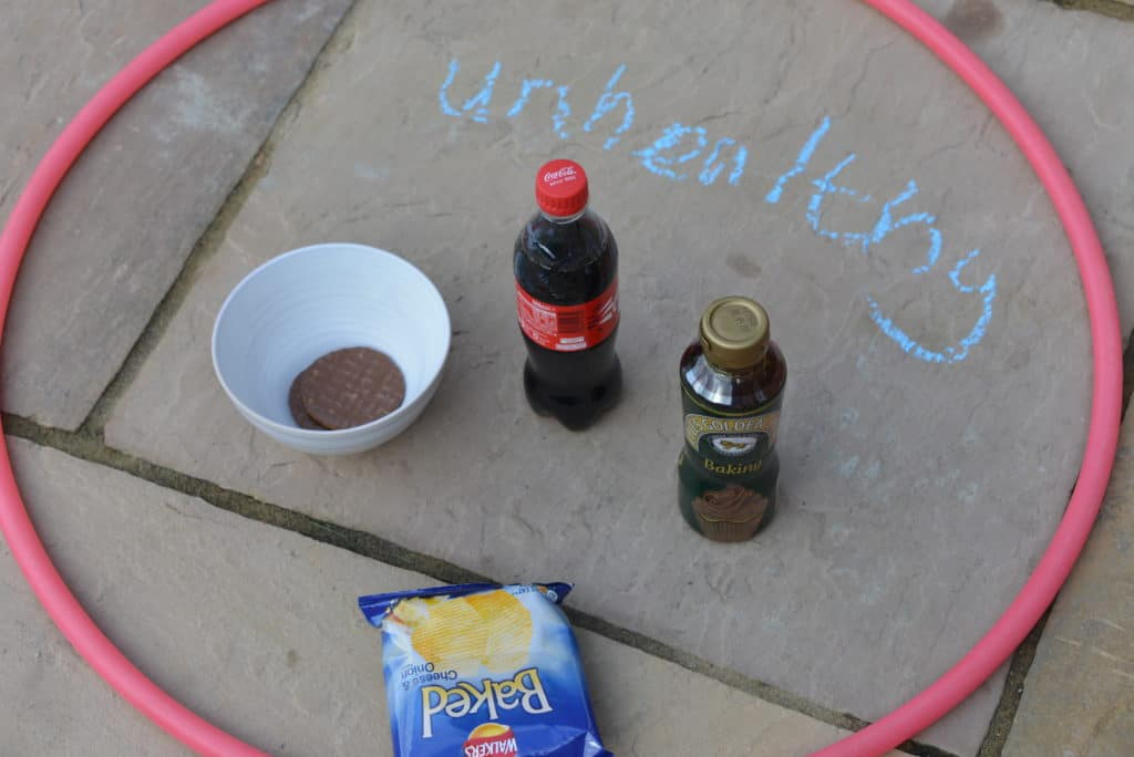 Using hula hoops to group foods into healthy and unhealthy