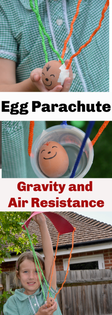 Make an egg parachute for a parachute egg drop experiment - gravity and air resistance experiment for kids #forces #forcesexperiment #gravityexperiment