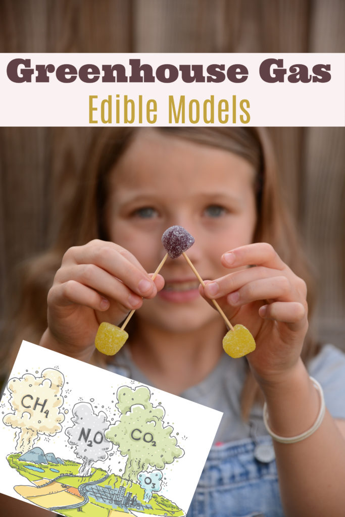 Greenhouse gas edible models - learn about the greenhouse effect and global warming with these easy edible models. #scienceforkids #greenhouseffect