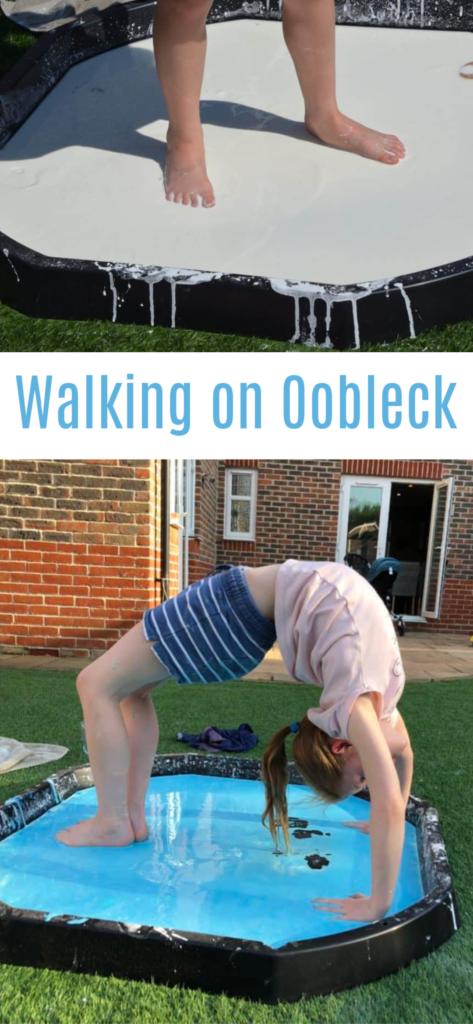 Walking on Ooobleck and more oobleck or cornflour gloop activities #scienceforkids #oobleck #cornflourslime #scienceforkids