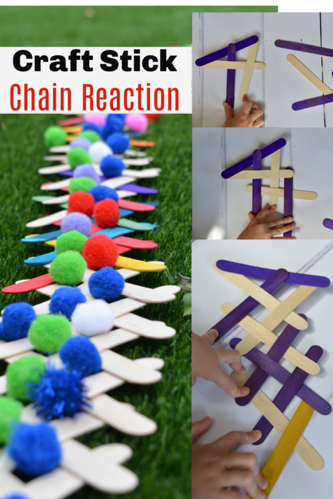 Craft stick chain reaction challenge - or popsicle stick chain reaction challenge - make a fun chain reaction with popsicle sticks to learn about kinetic and potential energy #scienceforkids #scienceexperimentsforkids #forcesforkids