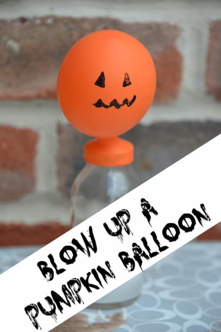 Balloon decorated like a Pumpkin blown up with alka seltzer #HalloweenScience #Scienceforkids