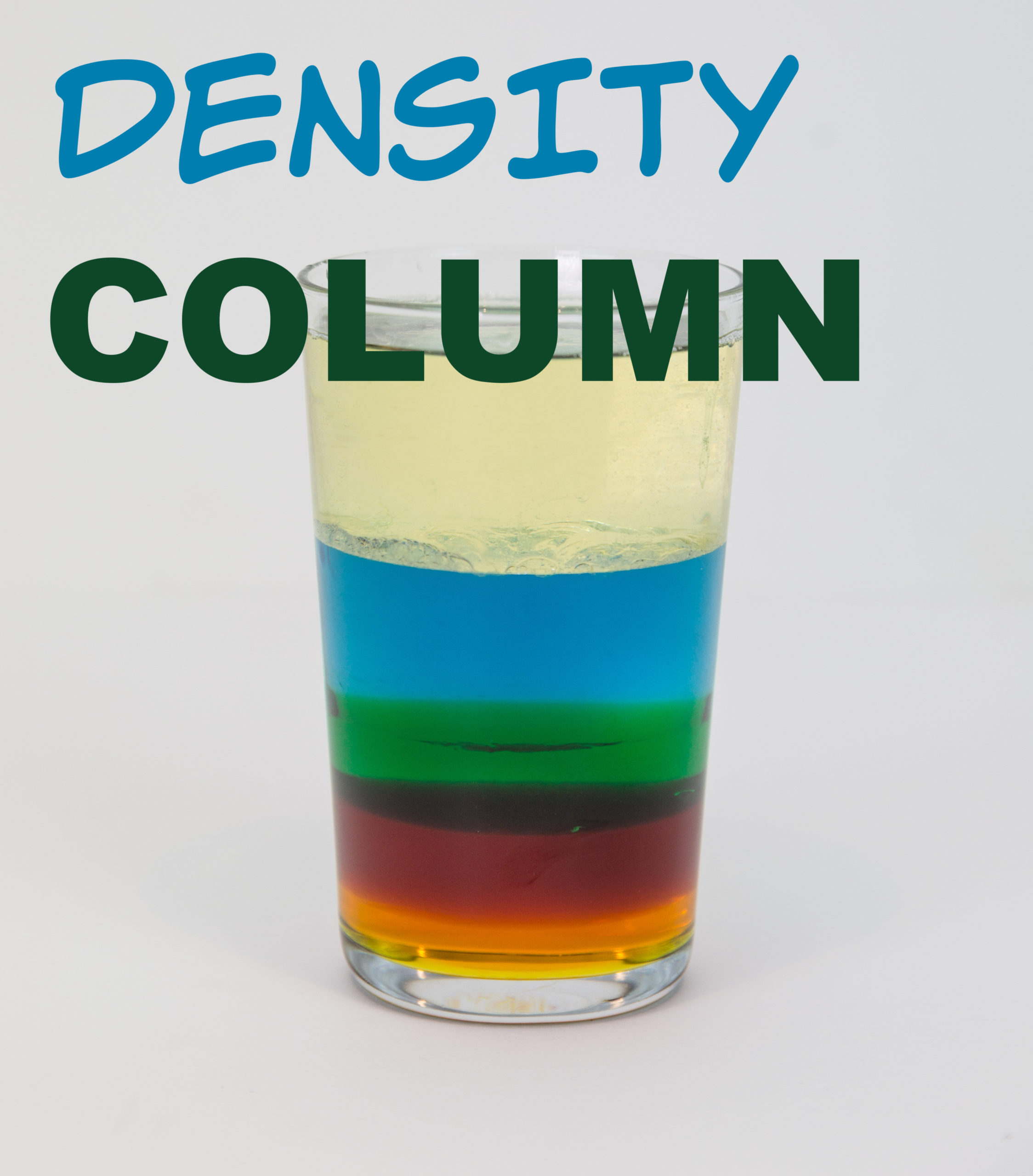 Image of a density column made with honey, golden syrup, washing up liquid, coloured water and oil