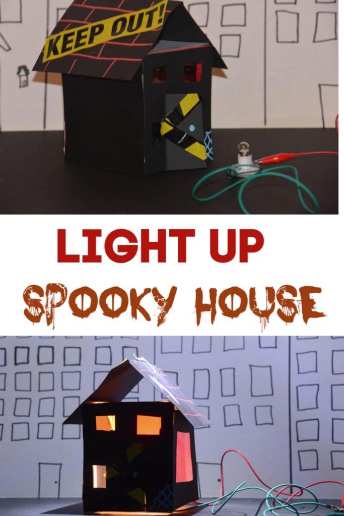 Pumpkin alternative - light up spooky house for Halloween #Halloweenscience #scienceforkids #spookyscience #Halloweencraft