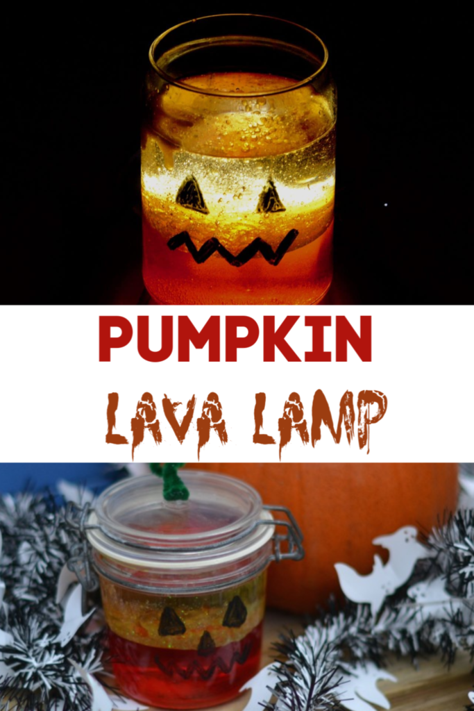 Easy Pumpkin Lava Lamp - use oil, water and alka seltzer to make a Halloween themed lava lamp. This is a great alternative to a carved pumpkin #Halloween #Halloweenscience #lavalamp #Alternativepumpkins #pumpkinactivities