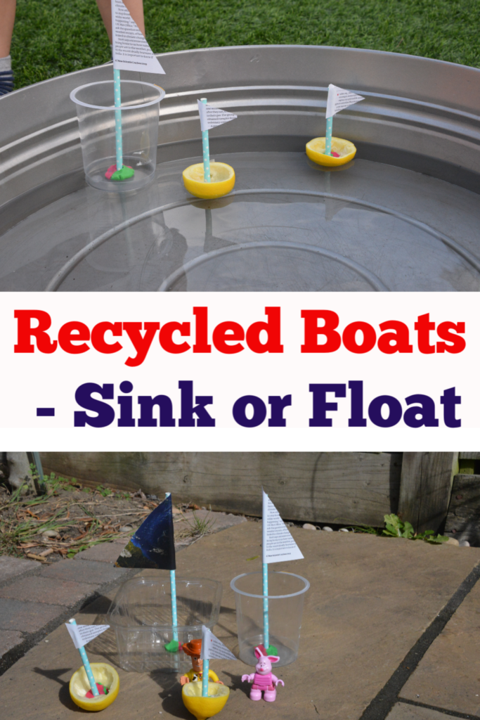 Recycled Boats - fun first preschool science project - sink or float activity #preschoolscience #scienceforkids #easyscienceforkids #simplescience