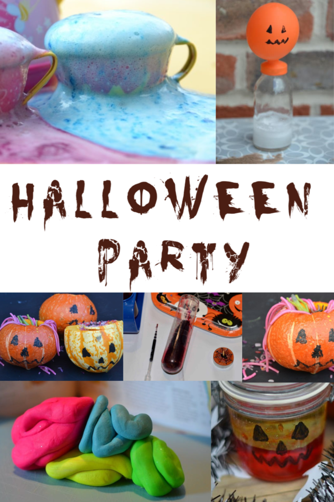 Spooky science for a Halloween party - make fake blood, have a game of guess what's in the pumpkin, make a pumpkin lava lamp and lots more Halloween party activity ideas. #Halloween #Halloweenpartyideas #Halloweenpartyscience #scienceforhalloween