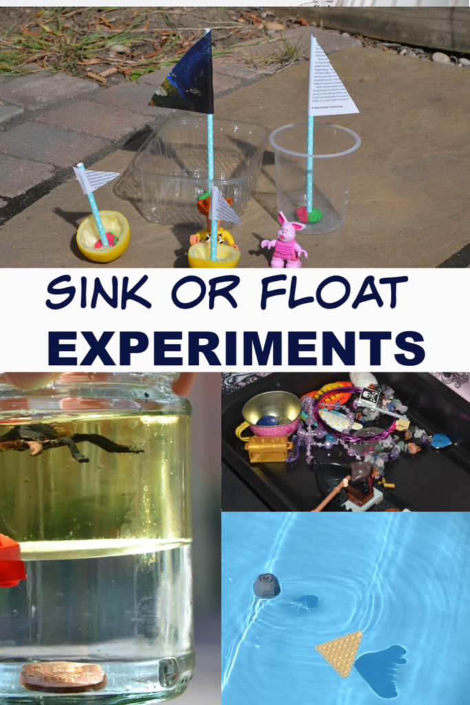 Density Jar, pirate treasure and recycled boats for a preschool sinking and floating experiment
