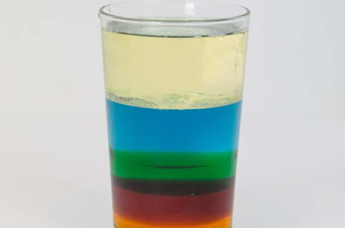 Liquids with different densities floating on top of each other
