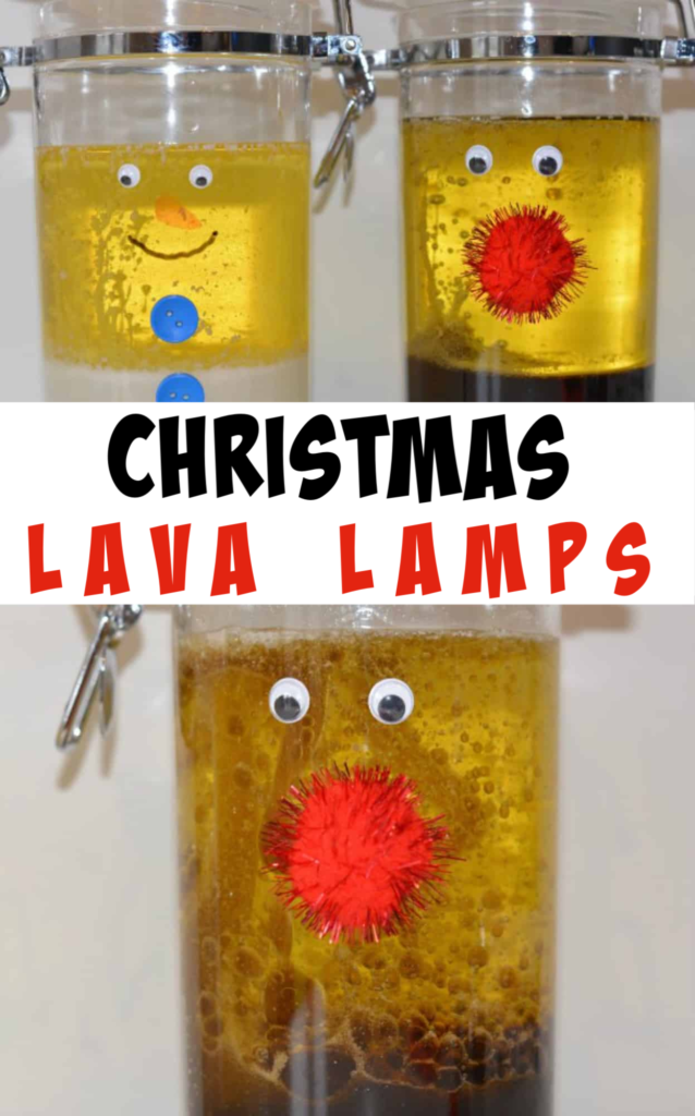 Christmas Lava Lamps - easy Christmas Science for kids #Christmas #ChristmasScience #Reindeercraft #SnowmanCraft