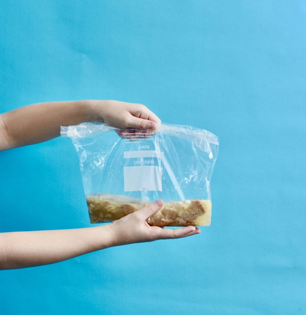 Digestion Model - plastic bag with stomach contents for a digestion experiment