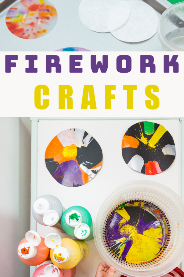 Firework science crafts for kids - make spin art fireworks and chromatography fireworks #spinartfirework #fireworkcrafts #bonfirenightcrafts
