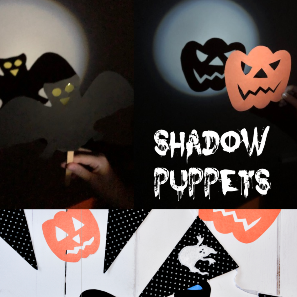 Halloween Shadow Puppets - easy Halloween Shadow Puppets made with card and lolly sticks #Halloween #HalloweenScience #HalloweenCrafts