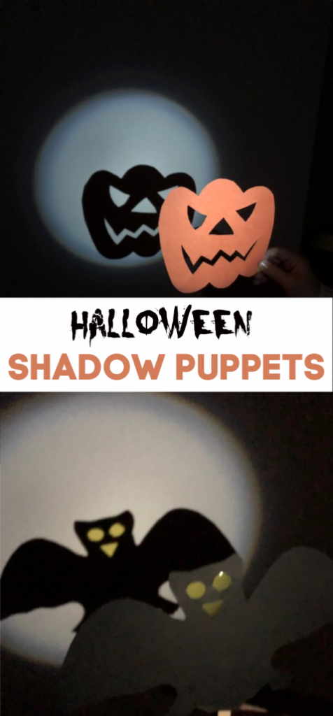 Easy Halloween Shadow Puppets - use card and lolly sticks to make these fun spooky puppets #Halloween #Halloweencrafts #HalloweenScience