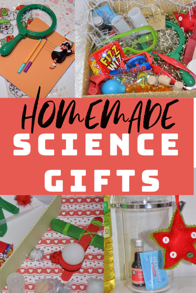 Easy Homemade #sciencegifts for kids. Make a gift as part of a science investigation or create a science kit for a little scientist #sciencekits #scienceforchristmas #christmasscience