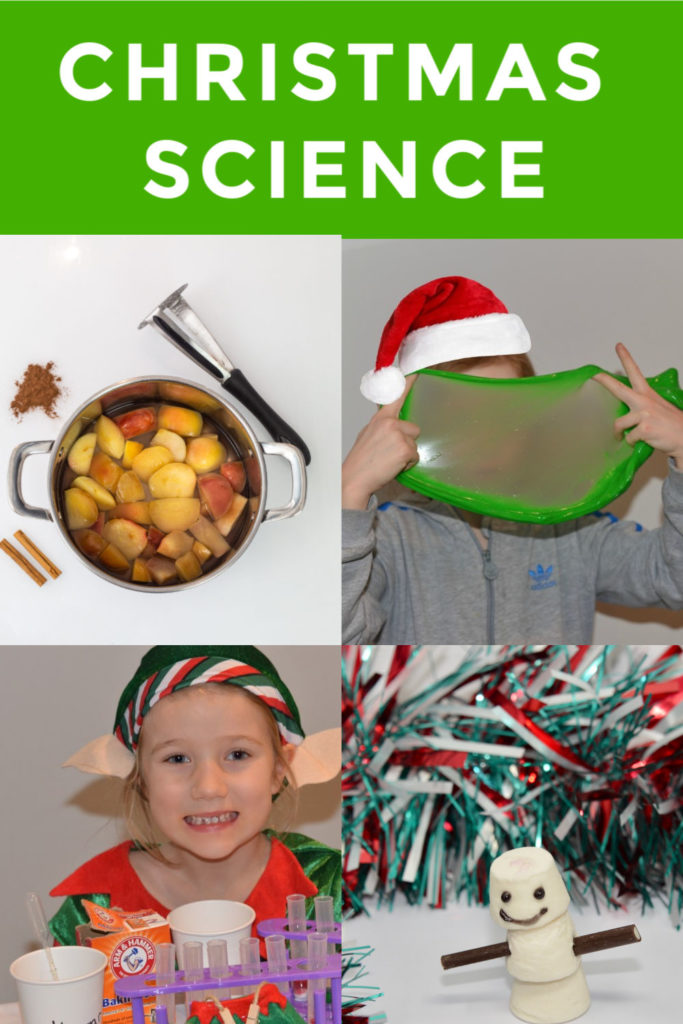 Christmas Science Experiments for kids #ChristmasScience fun collection of easy Christmas Science experiments for kids. Make Grinch slime, spiced apple cider, marshmallow snowmen and lots more Christmas Science Experiments