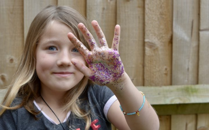 Results of handwashing activity with glitter