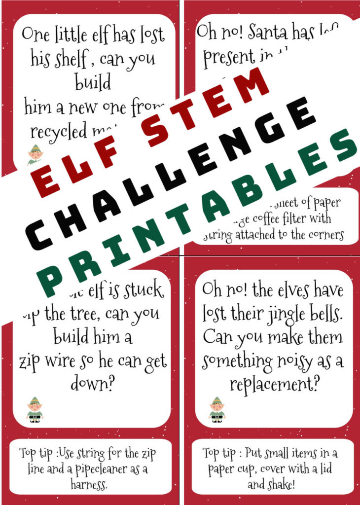 ELF STEM Challenge printable cards #ELFSTEM #Christmasscience #ChristmasSTEM  #ELFontheSHELFIdeas #ELFontheSHELF